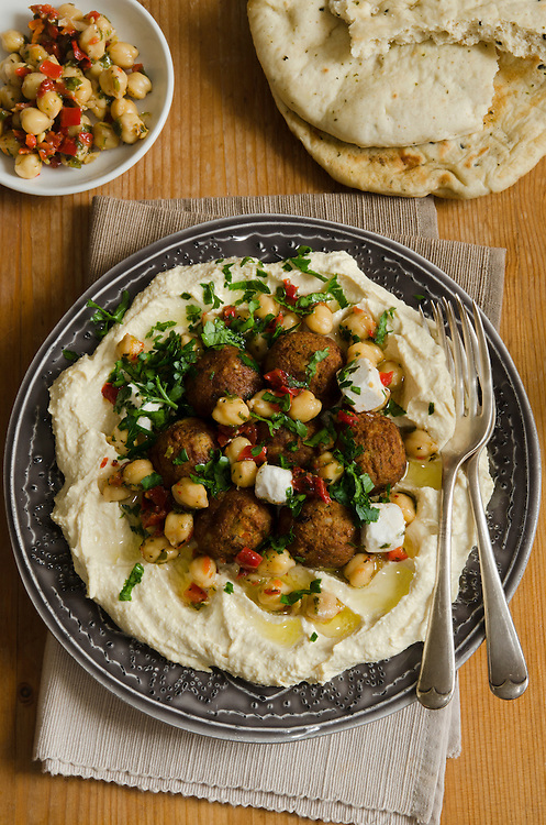 Hummus with falafel, feta cheese and chickpeas