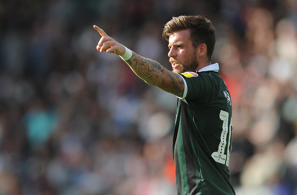 Plymouth Argyle's Graham Carey<br /> <br /> Photographer Kevin Barnes/CameraSport<br /> <br /> The EFL Sky Bet League One - Plymouth Argyle v Blackpool - Saturday 15th September 2018 - Home Park - Plymouth<br /> <br /> World Copyright © 2018 CameraSport. All rights reserved. 43 Linden Ave. Countesthorpe. Leicester. England. LE8 5PG - Tel: +44 (0) 116 277 4147 - admin@camerasport.com - www.camerasport.com