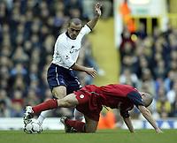 Photo. Aidan Ellis.<br />Tottenham Hotspur v Bolton Wanderers.<br />FA Barclaycard Premiership.<br />01/10/2003.<br />Spurs Stephen Carr  and Bolton's Stelios Giannakopoulos