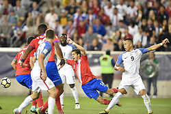 September 1, 2017 - Harrison, New Jersey, U.S - Costa Rica defender CRISTIAN GAMBOA (16) is fouled by USMNT forward BOBBY WOOD (9) during a World Cup Qualifier at Red Bull Arena in Harrison New Jersey Costa Rica defeats USA 2 to 0 (Credit Image: © Brooks Von Arx via ZUMA Wire)