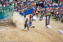 Off the line at the Gunstock Hillclimbs during Laconia Motorcycle Week. NH. USA. Wednesday June 13, 2018. Photography ©2018 Michael Lichter.