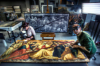 Conservation of 500 year old painting 'The Finding of the True Cross' at the NGV. Senior paintings conservator, John Payne at right, works with NGV intern Stephanie Limoges. Pic By Craig Sillitoe CSZ/The Sunday Age.14/9/2011 melbourne photographers, commercial photographers, industrial photographers, corporate photographer, architectural photographers, This photograph can be used for non commercial uses with attribution. Credit: Craig Sillitoe Photography / http://www.csillitoe.com<br /> <br /> It is protected under the Creative Commons Attribution-NonCommercial-ShareAlike 4.0 International License. To view a copy of this license, visit http://creativecommons.org/licenses/by-nc-sa/4.0/.