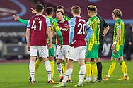 Mark Noble (16) of West Ham United gets animated during the Premier League match between West Ham United and West Bromwich Albion at the London Stadium, London, England on 19 January 2021.