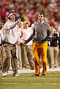 Nov 12, 2011; Fayetteville, AR, USA;  Tennessee Volunteers head coach Derek Dooley reacts to a call during a game against the Arkansas Razorbacks at Donald W. Reynolds Razorback Stadium. Arkansas defeated Tennessee 49-7. Mandatory Credit: Beth Hall-US PRESSWIRE