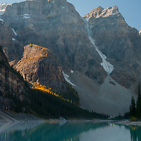 Mounts Babel, Bowlen & Tonsa tower above Moraine Lake and The Valley of the Ten Peaks in Banff National Park, Alberta, Canada.