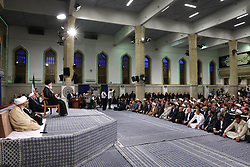 Handout photo - Iranian supreme leader Ayatollah Ali Khamenei speakes during the swearing-in ceremony of Iranian President Hasan Rouhani on in Tehran, Iran, on August 3, 2017. Rouhani vowed to continue his efforts to end the country's isolation as he was sworn in by supreme leader Ayatollah Ali Khamenei to serve his second term following his re-election in May. Photo via Parspix/ABACAPRESS.COM