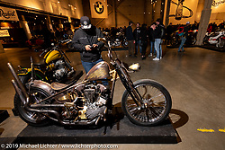 King Nothing Bobber, Josh Allison's Cry Baby Cycles' 1945 Harley-Davidson Knucklehead custom from Greeley, Colorado. ON view at the Handbuilt Show. Austin, Texas USA. Saturday, April 13, 2019. Photography ©2019 Michael Lichter.