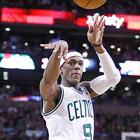04 March 2012: Boston Celtics point guard Rajon Rondo (9) passes the ball during the Boston Celtics 115-111 (OT) victory over the New York Knicks at the TD Garden, Boston, Massachusetts, USA.