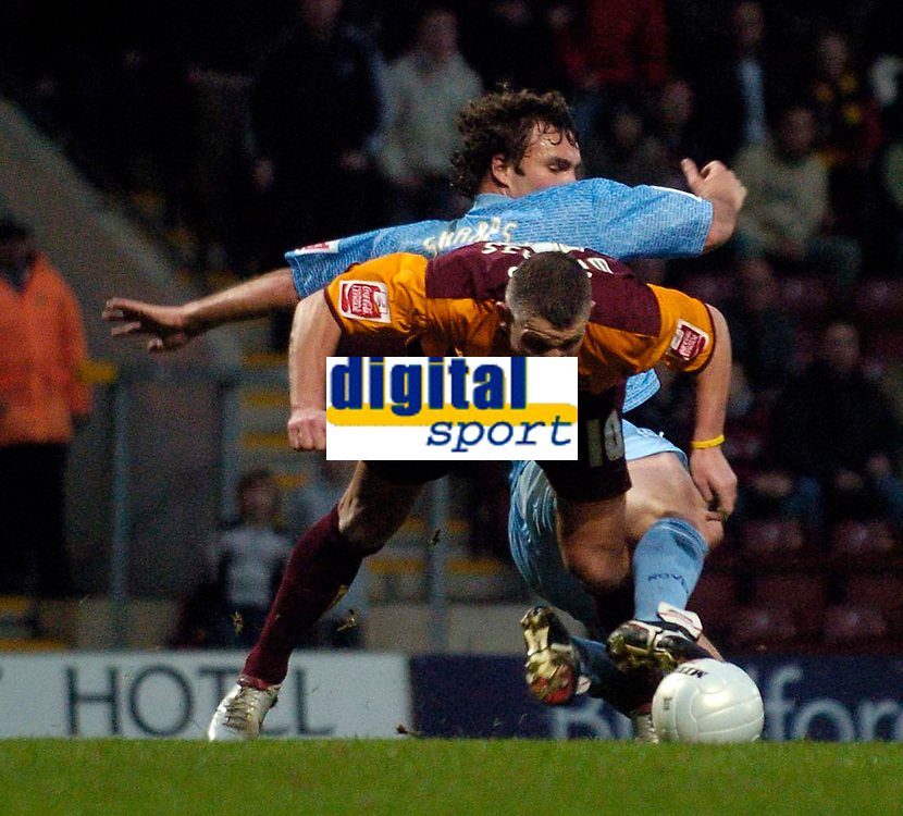 Photo: Jed Wee.<br />Bradford City v Tranmere Rovers. The FA Cup.<br />06/11/2005.<br /><br />Moments after their equaliser, Bradford earn a penalty after Dean Windass is clumsily challenged in the penalty area by Tranmere's Ian Sharps.