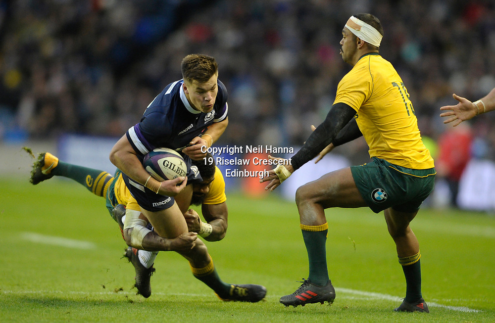 No Sales, Syndication or Archive <br /> <br /> Autumn Tests<br /> Scotland v Australia Saturday 25th November 2017, BT Murrayfield, Edinburgh.<br /> <br /> Huw Jones of Scotland tackled by Marika Koroibete  and Kurtley Beale of Australia<br /> <br /> <br /> <br />  Neil Hanna Photography<br /> www.neilhannaphotography.co.uk<br /> 07702 246823