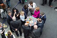 12 MAR 2018, BERLIN/GERMANY:<br /> Angela Merkel (in pink), CDU, Bundeskanzlerin, Thomas Silberhorn, desig. Parl. Staatssekretaer im Bundesministerium für Verteidigung, Alexander Dobrindt, Vorsitzender der CSU Landesgruppe,  Volker Kauder, CDU, CDU/CSU Fraktionsvorsitzender, Olaf Scholz, SPD, desig. Bundesfinanzminister, Horst Seehofer, CSU, desig. Bundesinnenminister, Patrick Schnieder, MdB, CDU, Dorothee Baer, CSU, desig. Staatsministerin für Digitales, Daniela Ludwig, MdB, CSU, Vorsitzende der Arbeitsgruppe Verkehr und digitale Infrastruktur, Andrea Nahles, SPD Fraktionsvorsitzende, Brigitte Zypries, SPD, scheidende Bundeswirtschaftsministerin, (im Uhrzeigersinn), nach der Unterzeichnung des Koalitionsvertrages der CDU/CSU und SPD, Paul-Loebe-Haus, Deutscher Bundestag<br /> IMAGE: 20180312-02-010<br /> KEYWORDS: Dorothee Bär