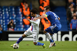 LONDON, ENGLAND - September 18: Basel's Mohamed Salah and Chelsea's Frank Lampard  during the UEFA Champions League Group E match between Chelsea from England and Basel from Switzerland played at Stamford Bridge, on September 18, 2013 in London, England. (Photo by Mitchell Gunn/ESPA)