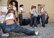 Italy, Florence, Fortezza da Basso, Fitfestival, preparing for a hip hop dance lesson