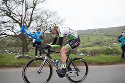 Saartje Vandenbroucke (BEL) of Lares Waowdeals Cycling Team climbs up the Cote de Lofthouse during the Tour de Yorkshire - a 122.5 km road race, between Tadcaster and Harrogate on April 29, 2017, in Yorkshire, United Kingdom.