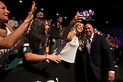 LAS VEGAS, NV - JULY 8:  Dana White takes a photo with a fan during The Ultimate Fighter Finale at MGM Grand Garden Arena on July 8, 2016 in Las Vegas, Nevada. (Photo by Cooper Neill/Zuffa LLC/Zuffa LLC via Getty Images) *** Local Caption *** Dana White