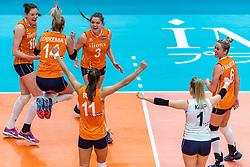 20-10-2018 JPN: Final World Championship Volleyball Women day 18, Yokohama<br /> China - Netherlands 3-0 / Lonneke Sloetjes #10 of Netherlands, Laura Dijkema #14 of Netherlands, Yvon Belien #3 of Netherlands, Maret Balkestein-Grothues #6 of Netherlands