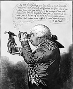 The King of Brobdingnag and Gulliver. James Gillray cartoon of July 1803 showing George III of Great Britain viewing a miniscule Napoleon through a spy-glass.  In 1803 Napoleon planned to invade England and seize Hanover. French