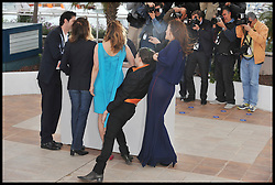(L-R) Actors Melvil Poupaud; Nathalie Baye; Suzanne Clement;Xavier Dolan ; Monia Chokri attend the photocall for the film Laurence Anyways at the Cannes Film festival, Saturday May 19, 2012. Photo by Andrew Parsons/i-Images.