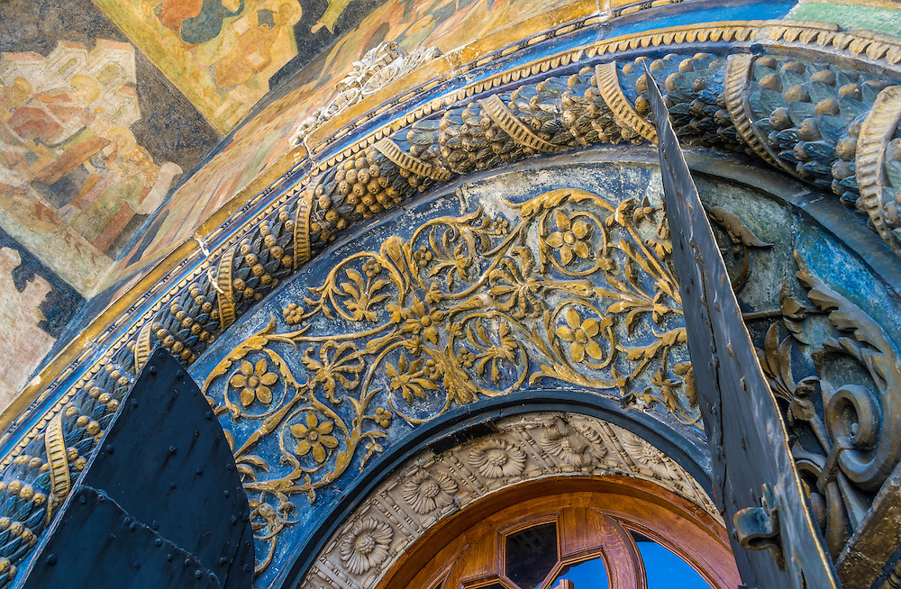 Architectural detail of the entrance of the Cathedral of the Archangel in the Kremlin