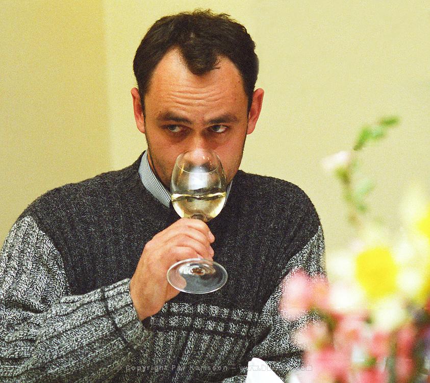 The Degenfeld winery in Tarcal, Tokaj: Mr  Gabor Rakaczki, the oenolog tasting the wine. enolog. Degenfeld is a Tokaj producer in Tarcal owned by the count and countess von Degenfeld  Credit Per Karlsson BKWine.com.