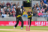 Wicket - Jerome Taylor of Somerset celebrates taking the wicket of Laurie Evans of Sussex during the Vitality T20 Finals Day Semi Final 2018 match between Worcestershire Rapids and Lancashire Lightning at Edgbaston, Birmingham, United Kingdom on 15 September 2018.