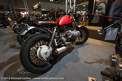 Custom BMW scrambler in the custom show at EICMA, the largest international motorcycle exhibition in the world. Milan, Italy. November 19, 2015.  Photography ©2015 Michael Lichter.
