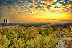 Looking out from the Scenic Overlook at Klondike Park in Saint Charles, Missouri at Sunset. Situated off Route 94 between Defiance and Augusta. Nestled in Missouri's scenic wine country, Klondike Park offers campers a chance to reconnect to nature and the outdoors. The camp is a popular destination for Girl and Boy Scout troops.