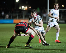Ulster Rugby's Nick Timoney lines up Dragons' Aaron Wainwright<br /> <br /> Photographer Simon King/Replay Images<br /> <br /> Guinness Pro14 Round 10 - Dragons v Ulster - Friday 1st December 2017 - Rodney Parade - Newport<br /> <br /> World Copyright © 2017 Replay Images. All rights reserved. info@replayimages.co.uk - www.replayimages.co.uk