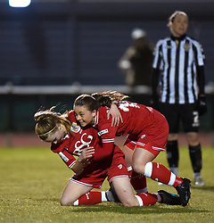 Poppy Wilson of Bristol City Women celebrates her goal with team mate Paige Sawyer - Mandatory by-line: Paul Knight/JMP - Mobile: 07966 386802 - 23/02/2016 -  FOOTBALL - Stoke Gifford Stadium - Bristol, England -  Bristol City Women v Notts County Ladies - Pre-season friendly