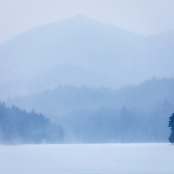 Cold winter day on Henderson Lake in New York's Adirondack Mountains. Tahawus Tract, Newcomb, New York.