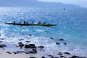 Sunset, Hawaiian outrigger canoe, Kanaha Beach Park, Maui, hawaii