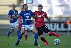 Emil Nielsen (Lyngby Boldklub) og Guillermo Varela (FC København) under kampen i 3F Superligaen mellem Lyngby Boldklub og FC København den 1. juni 2020 på Lyngby Stadion (Foto: Claus Birch).