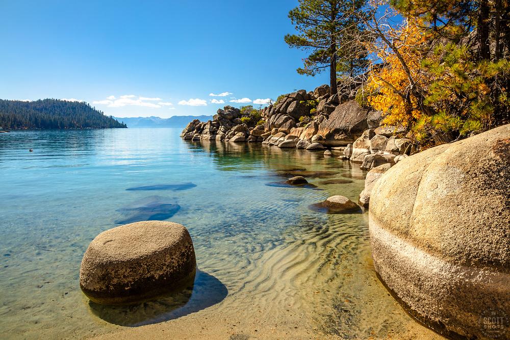 """Secret Cove in Autumn 2"" - Photograph of fall foliage along the shore at Secret Cove, Lake Tahoe."