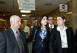 12 June  2015. New Orleans, Louisiana. <br /> L/R Ryan LeBlanc, Rita Benson LeBlanc and their mother Renee LeBlanc at  Civil District Court on the last day of a hearing to determine the competency of grandfather/father Tom Benson. Benson is the billionaire owner of the NFL New Orleans Saints, the NBA New Orleans Pelicans, various auto dealerships, banks, property assets and a slew of business interests. Rita, her brother and mother demanded a competency hearing after Benson changed his succession plans and decided to leave the bulk of his estate to third wife Gayle, sparking a controversial fight over control of the Benson business empire.<br /> Photo©; Charlie Varley/varleypix.com