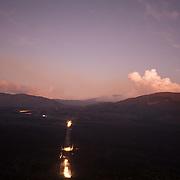 Sunset over Plaine des Sables, the route to Piton de la Fournaise volcano