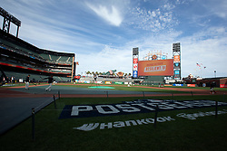 Oct 7, 2021; San Francisco, CA, USA; San Francisco Giants players and coaches take their turn on the field during NLDS workouts. Mandatory Credit: D. Ross Cameron-USA TODAY Sports