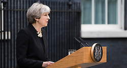 Downing Street, London, June 4th 2017. British Prime Minister Theresa May addresses the media in Downing Street following a COBRA meeting in the wake of the London Bridge terror attacks overnight, which have claimed seven lives.