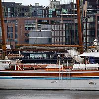 Europe, Norway, Oslo. Boat in Oslo harbor, Norway.