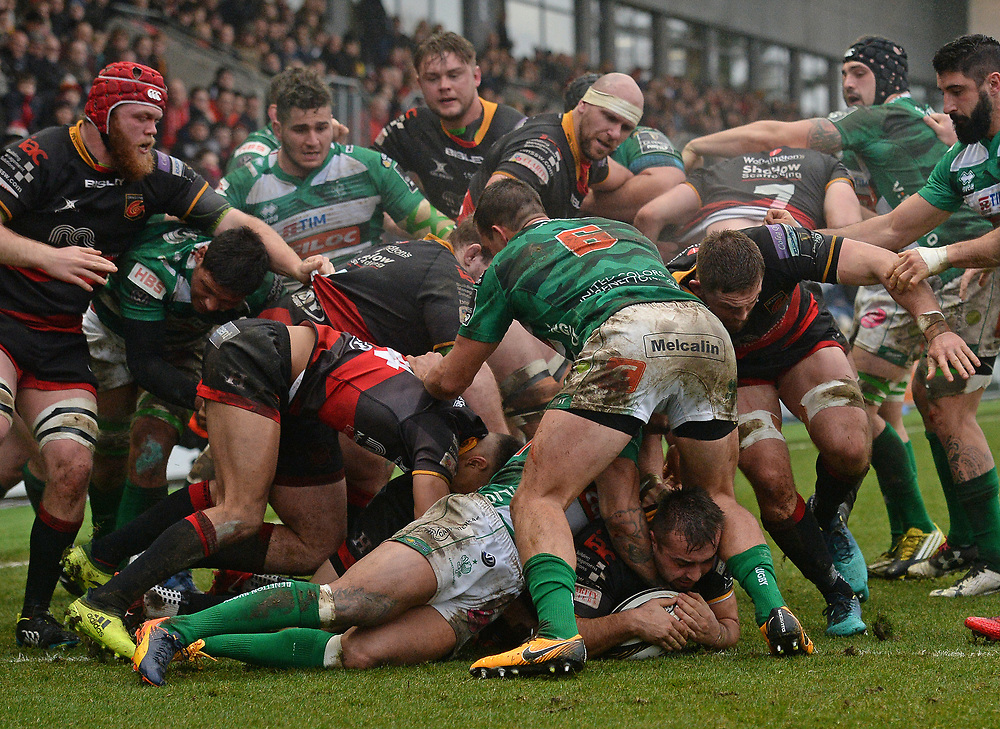 Dragons' Liam Belcher scores his sides third try<br /> <br /> Photographer Ian Cook/CameraSport<br /> <br /> Guinness Pro14 Round 15 - Dragons v Benetton Rugby - Sunday 18th February 2018 - Rodney Parade - Newport<br /> <br /> World Copyright © 2018 CameraSport. All rights reserved. 43 Linden Ave. Countesthorpe. Leicester. England. LE8 5PG - Tel: +44 (0) 116 277 4147 - admin@camerasport.com - www.camerasport.com