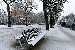 February 6, 2018 - Paris, Ile-de-France, France - Snow falls in Paris on the Jardin des Plantes and the National Museum of Natural History in February 6, 2018. The onslaught of winter should intensify February 6 and affect almost half of France, with ice and snow in the Paris region, and freezing temperatures that led 22 departments to activate their plans for ''cold weather. (Credit Image: © Michel Stoupak/NurPhoto via ZUMA Press)
