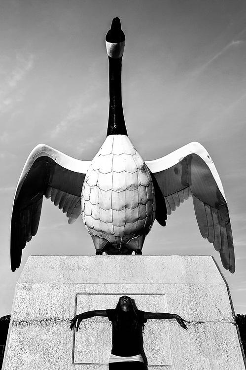 A woman named Gemma poses at the Wawa Goose in Wawa, Ontario in northern Ontario