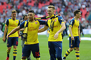 Arsenal's Alex Oxlade-Chamberlain on the left during the The FA Cup match between Arsenal and Aston Villa at Wembley Stadium, London, England on 30 May 2015. Photo by Phil Duncan.