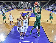 Baylor Bears center Brittney Griner (42) scores over Kansas State Wildcats forward Chantay Caron (11) during the second half at Bramlage Coliseum. Baylor defeated Kansas State 90-69.