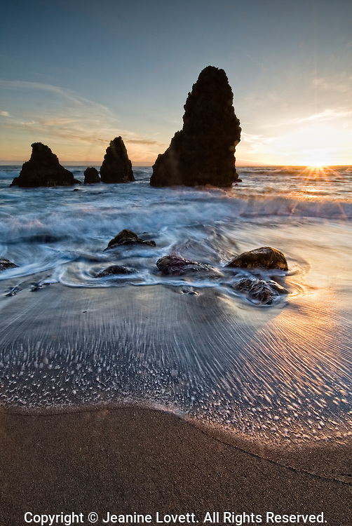 Blurred motion of the ocean waves at Redeo Beach, California.