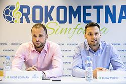 """Uros Zorman and Luka Zvizej during press conference of handball event named """"Rokometna simfonija"""" in honour of retirement of best Slovenian handball players Uros Zorman and Luka Zvizej, on April 14, 2019, in Arena Zlatorog, Celje, Slovenia. Photo by Vid Ponikvar / Sportida"""