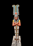 Ancient Egyptian statuette of Ptah Sokar Osiris, Late Period 25-26th Dynasty, (722-525 BC). Egyptian Museum, Turin. black background. Old Fund Cat 2466. .<br /> <br /> If you prefer to buy from our ALAMY PHOTO LIBRARY  Collection visit : https://www.alamy.com/portfolio/paul-williams-funkystock/ancient-egyptian-art-artefacts.html  . Type -   Turin   - into the LOWER SEARCH WITHIN GALLERY box. Refine search by adding background colour, subject etc<br /> <br /> Visit our ANCIENT WORLD PHOTO COLLECTIONS for more photos to download or buy as wall art prints https://funkystock.photoshelter.com/gallery-collection/Ancient-World-Art-Antiquities-Historic-Sites-Pictures-Images-of/C00006u26yqSkDOM