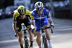 April 18, 2018 - Huy, BELGIUM - Australian Jack Haig of Mitchelton - Scott and Belgian Pieter Serry of Quick-Step Floors pictured in action during the 82nd edition of the men's race of 'La Fleche Wallonne', a one day cycling race (Waalse Pijl - Walloon Arrow), 198,5km from Seraing to Huy, Wednesday 18 April 2018. BELGA PHOTO ERIC LALMAND (Credit Image: © Eric Lalmand/Belga via ZUMA Press)