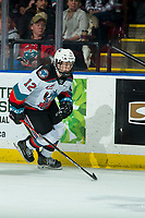 KELOWNA, BC - JANUARY 31: Turner McMillen #12 of the Kelowna Rockets skates against the Spokane Chiefs for his first WHL game at Prospera Place on January 31, 2020 in Kelowna, Canada. (Photo by Marissa Baecker/Shoot the Breeze)