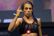 Joanna Jędrzejczyk steps on the scale during the UFC 205 weigh-ins at Madison Square Garden in New York, New York on November 11, 2016.  (Cooper Neill for The Players Tribune)