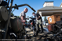 Buck Carson unloading his Harley off of the chase truck during the Motorcycle Cannonball coast to coast vintage run. Stage 5 (229 miles) from Bowling Green, OH to Bourbonnais, IL. Wednesday September 12, 2018. Photography ©2018 Michael Lichter.